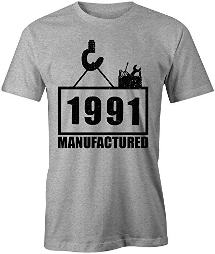 Manufactured 1991 - Rundhals-T-Shirt Männer-Herren - hochwertig bedruckt mit lustigem Spruch - Die perfekte Geschenk-Idee (05) grau-meliert