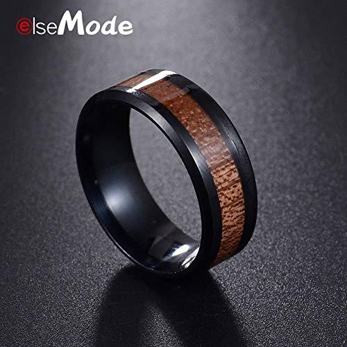 WZYMNJZ Holz Inlay Edelstahl Männer Frauen Hochzeit Ring Hochglanzpoliert Komfort Fit Größe 6-13# (Hochzeit Ringe Größe 11 Frauen)