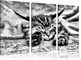Monocrome, Baby Cat, red bedspread, 3-piece canvas picture 120x80 image on canvas, XXL huge Pictures completely framed with stretcher, Art print on mural with frame gänstiger as a painting or an oil painting, no poster or poster
