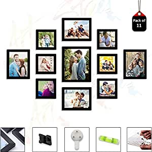 Art Street Set of 11 Individual Black Wall Photo Frames Wall Decor Free Hanging Accessories Included   Mix Size  6 Unit 5x5, 4 Units 6x8, 1 Units 8x10 inches  