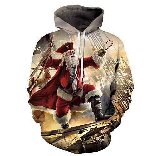 SPFAZJ Weihnachtsmannkostüm Kostüm Neue Santa Piraten Digital Print mit Kapuze Kleiderschrank große Code lose europäische und amerikanische Sportarten Paar Top