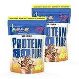 WEIDER Protein 80 Plus Eiweißpulver, 2 Pack, Haselnuss-Nougat, Low-Carb, Mehrkomponenten Casein Whey Mix für Proteinshakes, 2x500g