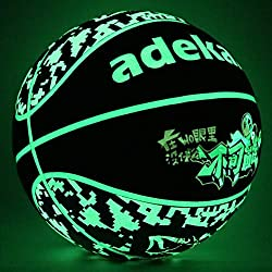 Lumineux Basketball, Style Camouflage Basketball Lumineux, Ballon Noctilucent Fluorescent, Taille Officiel Basketball Jouet Taille 7 (29.5 in) A