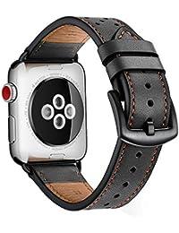 Correas para Apple Watch KZKR Correa Pulsera cuero de reloj Marrón 38mm/42mm Correa reloj para iWatch 1 2 3 doble gira cuero Reloj B030-M Reloj Correa Negro Azul Blanco (Negro-42mm)