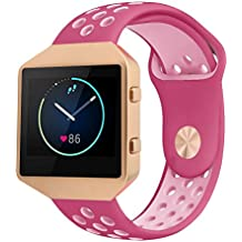 Fitbit Blaze Bands Silicone with Frame, Small Breathable Sports Replacement Strap with Rose Gold Metal Case for Smart Fitness Watch Women Men (Red/Pink Small)