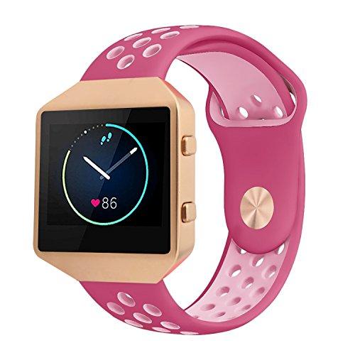 Fitbit Blaze Armband Silikon mit Rahmen, große atmungsaktive Sport Ersatzband mit Rose Gold Metallgehäuse für Smart Fitness Watch Damen Herren (rot / Pink groß) - Watch Gold Red