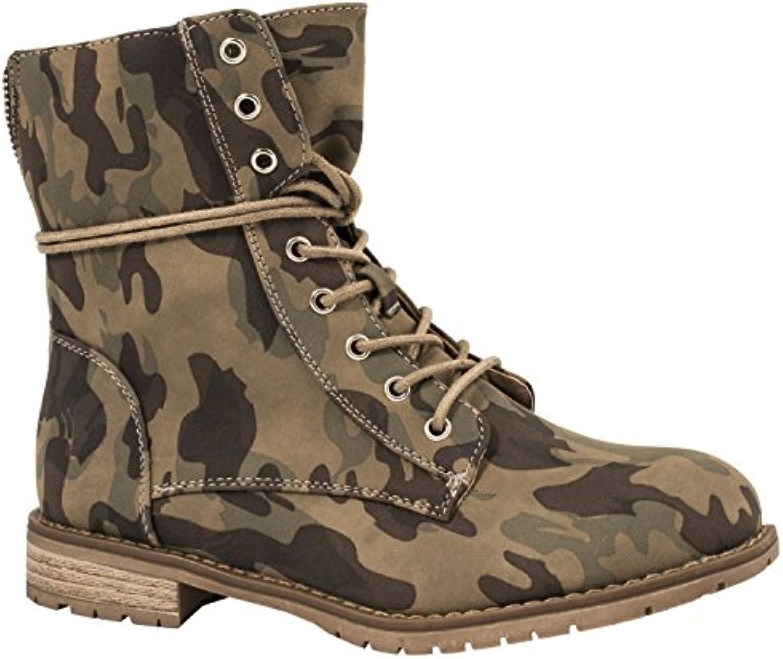 Elara Damen Stiefeletten | Bequeme Biker Boots | Lederoptik Schnürstiefeletten