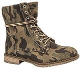 Elara Damen Stiefeletten | Bequeme Biker Boots | Lederoptik Schnürstiefeletten KA16-22SL-Camouflage-39