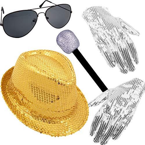 German Trendseller® - Pop Star - Kostüm - Set - Gold - Deluxe ┃ Michael Jackson ┃ Pailletten Hut + Mikrofon + Brille + Paillettenhandschuhe┃5 TLG. Set