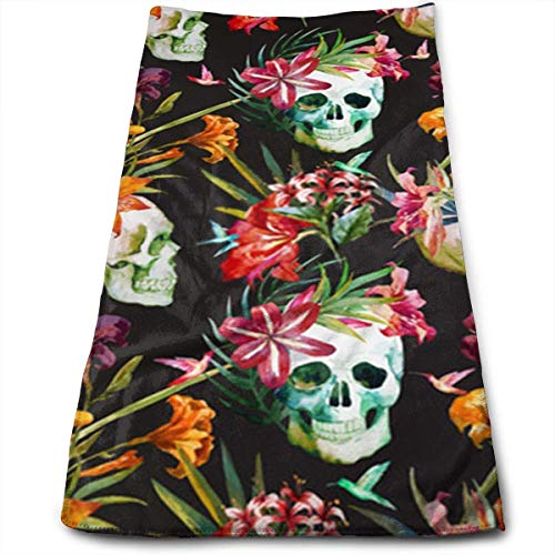best& Beautiful Watercolor Skulls and Flowers Multi-Purpose Microfiber Towel Ultra Compact Super Absorbent and Fast Drying Sports Towel Travel Towel Beach Towel Perfect for Camping, Gym, Swimming. -