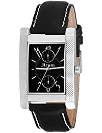 Arum Black Square Dial Leather Strap Fashion Analog Watch For Men's And Boy's