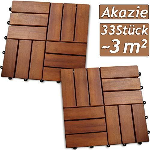 Deuba 33x Holzfliesen Akazie Mosaik   FSC®-zertifiziertes Akazienholz   3m² Fliese 30x30 cm Stecksystem   Zuschneidbar Terrasse Balkon