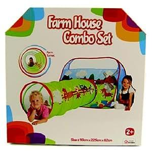Tente de jeu + tunnel - aire de jeux animaux de la ferme