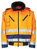4in1 Warnschutzjacke Allgäu Herren Winter Jacke Arbeitsjacke orange marine (M)