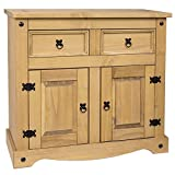 Home Discount® Corona 2-Door 2-Drawer Sideboard Solid Waxed Pine Mexican Furniture