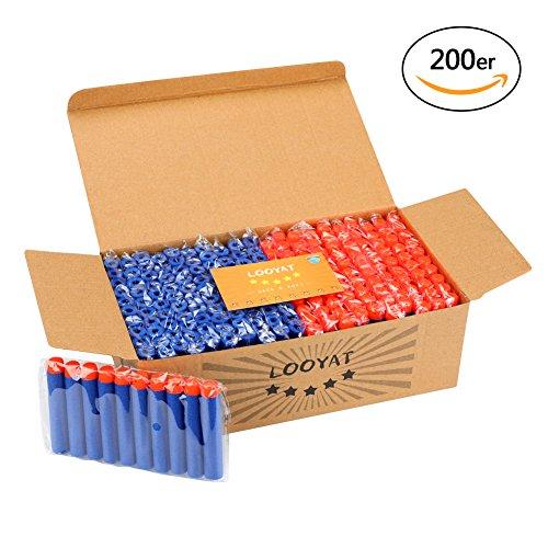 200 Stück MEGA-Packung Nerf kompatible Pfeile in top Qualität. Nachfüllpack und sofort mehr Munition für alle. Die Darts sind passend für N-Strike Elite Series Blasters und viele andere Nerf Guns, praktische Aufbewahrungsbox aus festem Karton mit kleiner Öffnung für die Darts.