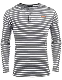Coofandy Herren Langarmshirt Pullover Gestreifen Stripe Langarm Shirt  Henley-Kragen Sweatshirt für Männer 1f78c28956