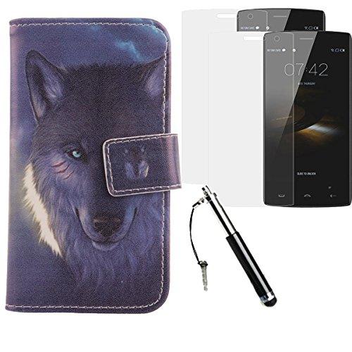 Lankashi Wolf PU Flip Leder Tasche Für Doogee HomTom HT7 Pro 5.5