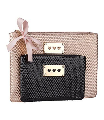 SIX - 2er Set Taschen, Make-Up Beutel, gold, schwarz (129-673) (Vintage Handtaschen Inspiriert)