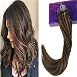 LaaVoo 45cm Micro Ring Loop Cheveux Naturel Anneaux a Froid Marron Fonce #4 Mixte Caramel Blonde #27 Easy Loops Extension 1g/meche 50Gramme Unite