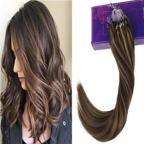 g Hair Extensions Karamell Blonde und Dunkel Braun #4/27 Highlight Hair Extension Ring Beads fur Microrings 50Gramm ()
