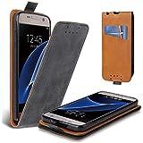Lelogo Galaxy S7 Hülle, Leder Tasche für Samsung Galaxy S7 Handyhülle Flip Case Schutzhülle (Schwarz)