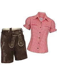Damen Set Trachten Lederhose Shorts dunkelbraun kurz + Träger + Trachtenbluse Mala kariert versch. Farben, Marke Gaudi-Leathers