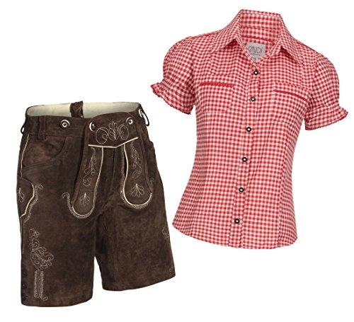 Damen Set Trachten Lederhose Shorts dunkelbraun kurz + Träger + Trachtenbluse Mala 38 Rot Weiß Kariert 38
