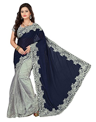 Surat Tex Women\'s Lycra & Net Embroidered Saree with Blouse Piece (Blue & Silver)