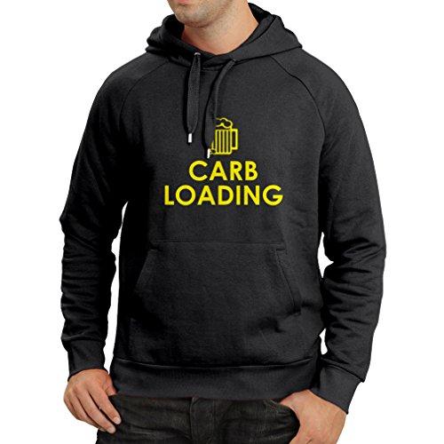 Sweatshirt à capuche manches longues Carb Loading - citations de fitness drôle, vêtements d'entraînement (X-Large Noir Jaune)