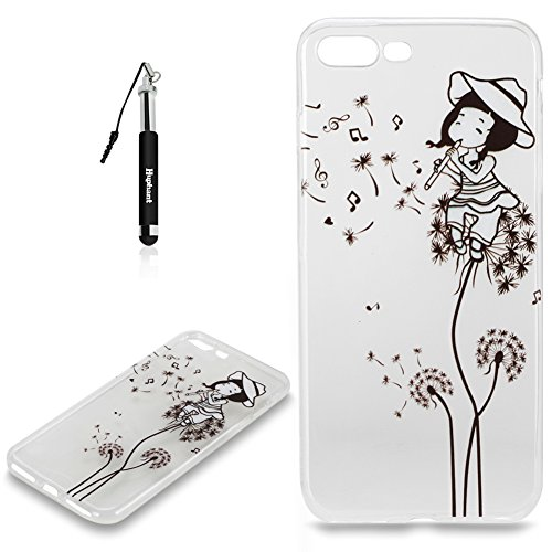 Coque iPhone 7 Plus Case Silicone Rose,Huphant Etui pour telephone avec TPU Silicone Cas iPhone 7 Plus Housse Crystal with Coque couleurs for iPhone 7 Plus Etui silicone TPU Flamant Fleurs Datura Fill Fille Pissenlit