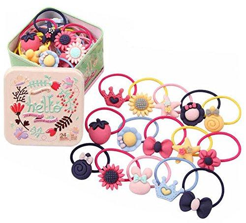 Set di 22 elastici per capelli da bambina, con graziosa scatola portaoggetti di latta