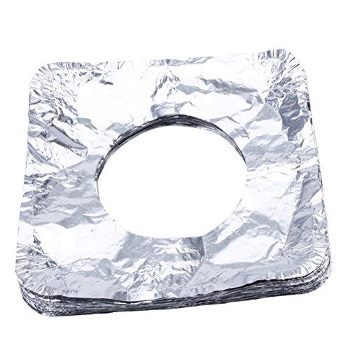 BESTONZON 50 stücke Einweg Bib Liner Gasherd Brenner Abdeckungen Aluminiumfolie Gasherd Protektoren für Küche Gasherd Top-Platz (Silber) -