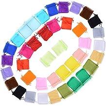100 X Bolsas Bolsitas de Organza de Boda 10X12cm para Regalo Joyas Caramelo Dulces Recuerdo Favores Detalles de Boda (Colores)