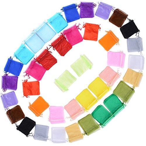 AONER (10 * 12cm) 100pz Sacchetti Bustine Buste in Organza Confetti Portaconfetti Regalo Bomboniere Matrimonio Battesimo Compleanno Festa Confezione Gioielli (20 Colori Misti)