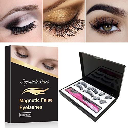Magnetische Wimpern,3D Magnet Künstliche Wimpern Set,Kein KlebstoffWiederverwendbare Falsche Magnetic Eyelashes -