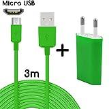 Original COVERLOUNGE - 2in1 Ladeset mit Micro USB Kabel / Datenkabel / Ladekabel [3m] & Slim Netzteil USB universal Adapter [1.0A] für alle Samsung Smartphones mit Micro USB Anschluss | Farbe: grün | Länge: 3 Meter / 3m