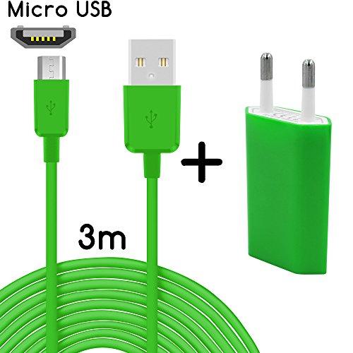 Coverlounge 2in1 Ladeset mit Micro USB Ladekabel [3m] & Slim Netzteil [1.0A] kompatibel für alle LG Smartphones mit Micro USB Anschluss | Farbe: grün | Länge: 3 Meter / 3m 009 Blackberry