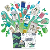 Professor Gloop\'s 5 in 1 Educational Slime Making Kit - DIY Non-Toxic, Borax-Free Includes Ingredients and Instructions on How to Make; Glow in the Dark | Glitter | Foam Ball | Bright | Regular Slime