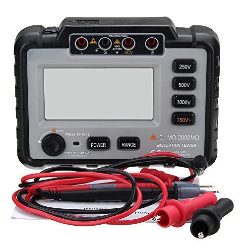ERLLYY Medidor de resistencia de aislamiento digital VC60B + Medidores de tierra física Megger Megohmmeter Volt portátil multímetro Inspector