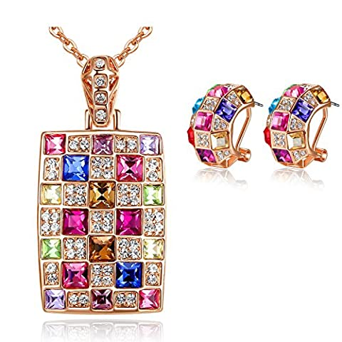 GoSparking Multi-Coloured Crystal 18K Rose Gold Plated Alloy Pendant & Earrings Set with Austrian Crystal For Women ST48266