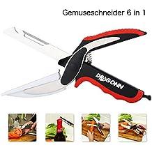 DRAGONN Clever Cutter 6 en 1 Cuchillo de cocina y de tijera con la tarjeta de corte * Fácil de la cocina vida con Clever cortador Alimentación Chopper Rápidamente corte frutas, hortalizas con Smart cortador