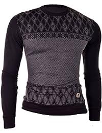 """D&R Fashion Hommes Sweat Noir Slim Fit Mélange de coton ras du cou à motifs de losanges M â ¤ """"4XL"""