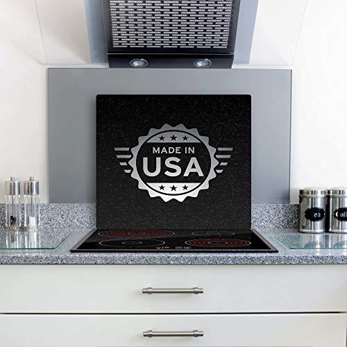 gsmarkt | Herdabdeckplatten Ceranfeldabdeckung Spritzschutz Glas 60x52 USA Schwarz