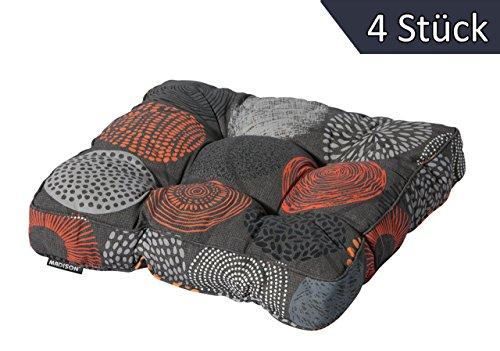 4 Stück Universell Auflage Sitzkissen 47x47cm Bunt Orange Grau