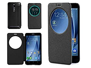 ISIN Housse pour Téléphones Portables Série Étui Premium PU pour ASUS Zenfone 2 ZE551ML de 5.5 pouces Full HD Android Smartphone (Noir)