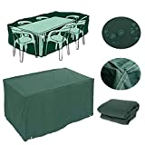Feikai Outdoor All Weather Furniture Cover, Waterproof Rain Cover Garden Cases Shelter Square Patio Rattan Wicker Tables Chairs Dining Cube Sofa Sets Protection (Green 180x268x90cm)