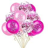 """Leey Prima infanzia 15pcs """"Foil Latex Confetti Balloon Baby Un anno di età Happy Birthday Party mongolfiera, decorazione della festa Palloncino bella agata (B)"""