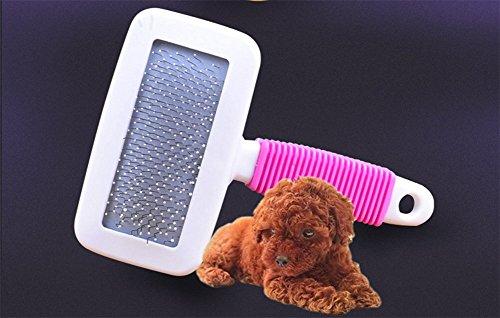 GUOKAIXU Haustier-Stift-Kamm mit Luftbeutel mit Kamm-Kamm-Hundekamm mit Staub-Bürsten-Süßigkeits-Farbtrompete,Pink