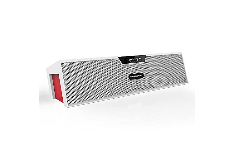 TECEVO T7 Bluetooth Wireless Speaker 10W RMS, Multi-functional Portable Mini Soundbar, Built-in Alarm Clock, FM Radio, Microphone TF Card Reader, USB Host, AUX Line-in (T7 - White)